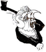 Mad Axe Woman Margaret Thatcher. Cartoon by Alan Hardman
