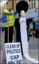 Sleaze: Cardiff Socialist Party clean up politics by binning an MP and call for a cap on MPs, photo Socialist Party Wales