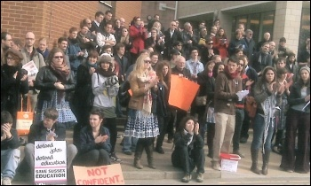 Staff and students unite in protest at Sussex university, photo Socialist Students