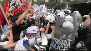 Greek workers battle police during two day strike , photo BBC video screen shot