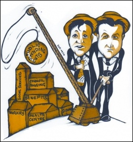 Cameron and Clegg's public spending cuts. Cartton by Suz, photo Suz