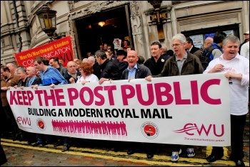 The CWU protest February 2009 against Post Office privatisation, photo Paul Mattsson