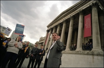 Chris Baugh, PCS assistant general secretary, addresses the National Gallery workers, who walked out against low pay, photo Paul Mattsson
