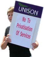 No to privatisation of services. Swansea Unison workers protest against cuts and privatisation in Wales , photo Socialist Party Wales