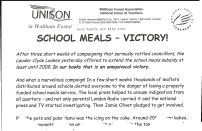 Pot and Pans demonstration in Waltham Forest against cuts tro school meals. Press release