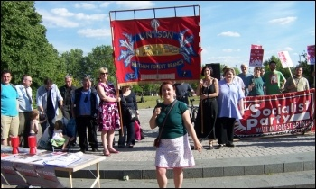 Walthamstow trade unionists and Socialist Party members protest on budget day, photo Senan