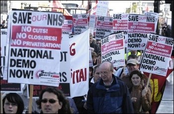 Socialist Party members on NHS demonstration in 2006, photo Paul Mattsson