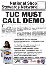 National Shop Stewards Network Lobby the TUC leaflet