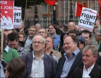 NSSN lobby of TUC, Billy Hayes, general secretary of the Communication Workers Union, CWU, firmly laid the blame for the economic crisis on the bankers -