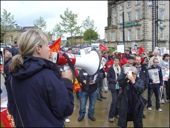 Jackie Grunsell addresses Kirklees Save Our services trade union protest against cuts, photo Huddersfield Socialist Party