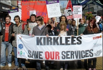Kirklees Save Our services trade union protest against cuts , photo Huddersfield Socialist Party