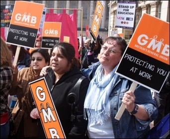 GMB members on strike, photo S O'Neill
