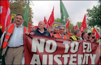 Bob Crow joins 100,000 demonstrating  in Brussels against European governments' savage cuts, part of a European-wide day of action, called by the European Trade Union Confederation on 29 September 2010, photo Paul Mattsson