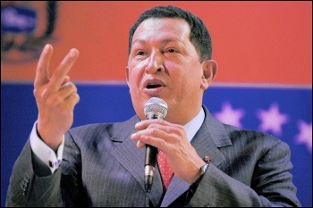 Hugo Chávez, president of Venezuela, speaking on the role of the US government , photo Paul Mattsson
