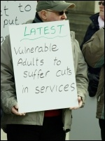 Disabled people protest against cuts, photo S Civi