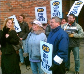 PCS DWP civil servants in Leicester during recent strike action, photo Leicester Socialist Party