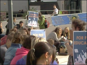 Over 100 students and workers at Warwick university came to an emergency protest on the steps of the university piazza
