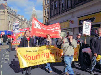 Youth Fight for Jobs on the Newport Demo to save the Passport Office , photo Socialist Party Wales