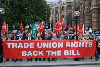 Trade Unionists lobbying parliament - trying to persuade at least 100 MPs to turn up at John McDonnell's Lawful Industrial Action bill's second reading, to prevent the Tories crushing it, photo by Suzanne Beishon