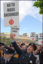 Firefighters demonstrate against the threat of mass sackings, photo Suzanne Beishon