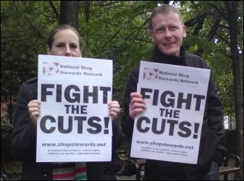 Manchester National Shop Stewards Netwrok protest against the cuts, photo Manchester Socialist Party