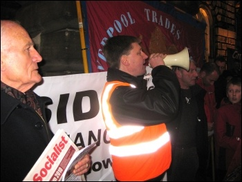 Liverpool lobby of council: Tony Mulhearn (holding The Socialist), waiting to speak, Daren Ireland, RMT and President of Liverpool TUC, addressing demo , photo Merseyside Socialist Party