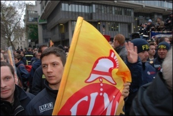 Firefighters rally and lobby MPs against cuts, photo Suzanne Beishon
