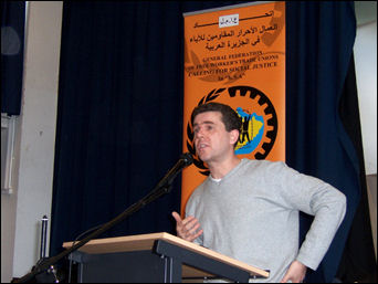 Mark Serwotka, PCS General Secretary, speaking at National Shop Stewards Network conference July 2007, photo Dave Carr