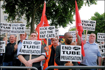 RMT protest against Tube privatisation, photo Paul Mattsson
