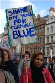 Protest in central London against higher tuition fees and education cuts , photo Suzanne Beishon