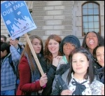 University, college and school students protest in central London against higher tuition fees and education cuts , photo Suzanne Beishon