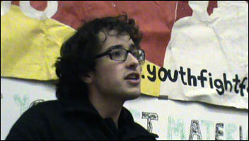 Jethro Waldon addresses Youth Fight for Education launch meeting