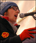 Ian Pattison, Socialist Students, addresses the 35,000 strong Day X rally against tuitions fees on behalf of the Leeds University occupation, photo by Suzanne Beishon