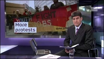 Youth Fight for Jobs protest featured on Channel 4 news