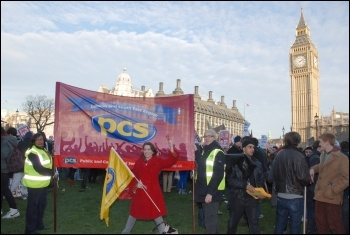 The public sector union PCS joins students protesting outside parliament on Day X as tuition fees debated, photo Suzanne Beishon