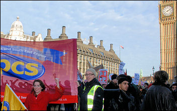 PCS banner joins the student protest against fees outside parliament on Day X, photo by Suzanne Beishon