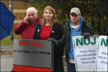 Journalists, members of the NUJ, on strike at Newsquest in Southampton, photo Nick Chaffey