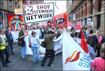 Lobby of 2010 TUC congress organised by the National Shop Stewards Network, photo S Beishon
