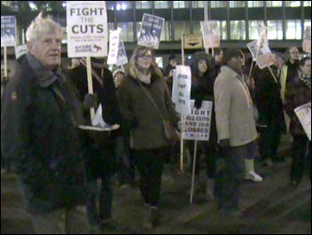 Greenwich protest against council cuts 29 November 2010 - riot police were called, photo Chris Flood
