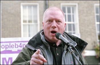 Matt Wrack, FBU general secretary, speaking at the London anti-cuts demonstration jointly called by the NSSN, RMT, NUT, FBU, PCS and other unions, photo Paul Mattsson