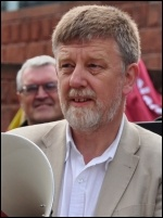 Dave Nellist at NSSN lobby of TUC, photo Suleyman Civi