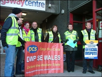 Department for Work and Pensions (DWP) civil servants in the PCS union taking strike action in Newport to provide a decent service to claimants