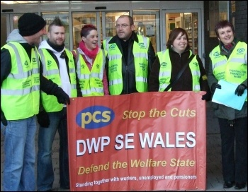 Department for Work and Pensions (DWP) civil servants in the PCS union taking strike action in Newport to provide a decent service to claimants, photo Dave Reid