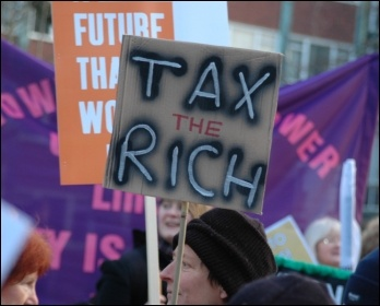 Lively and youthful march in Manchester, Saturday 29 January, organised by the PCS and UCU trade unions together with the National Union of Students., photo Dave Beale