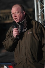 Matt Wrack, General Secretary, Fire Brgades Union (FBU), addresses the 29 January Manchester student demonstration , photo by Dave Beale
