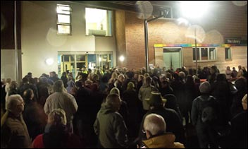 Hundreds of campaigners against the government's forests sell-off plans wait to quiz Tory MP in Coleford, photo www.handsoffourforests.org