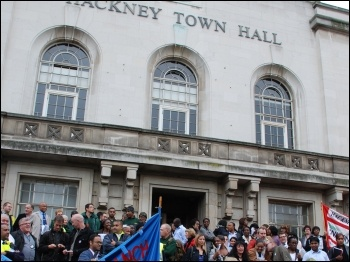 Unions protest at Hackney town hall, photo The Socialist