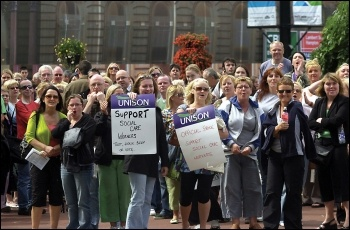Angry care workers take to the streets, photo Duncan Brown