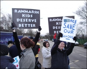 Rawmarsh Community School NUT teachers in Rotherham took nine days of strike action against cuts and redundancies, winning a repreive, photo Chris Borman
