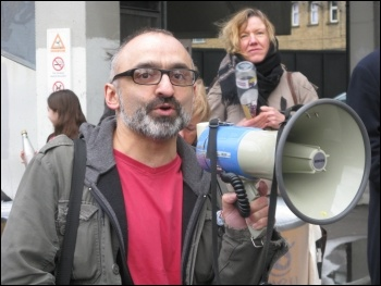 Onay Kasab addresses 200 trade unionists, community campaigners and service users marched in Greenwich borough, south London, against the local council's brutal cuts package, photo Lorraine Dardis
